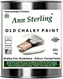 1Kg. Kreidefarbe Shabby Chic'Feinste Farbe' Ann Sterling für Innen und Außen Möbellack Bastellfarbe (Oldwhite Altweiß 01)