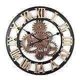 TENGER Retro Uhr Groe Wohnzimmer Wanduhr XXL Vintage Lautlos Uhr 3D Dekorative Zahnrad mit Rmischen Ziffern fr Wohnzimmer, Schlafzimmer, Kinderzimmer, Bro, Cafeteria und Restaurant, 58cm