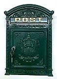 Briefkasten Englischer Postkasten zur Wandmontage grün Nostalgie Antik Stil aus Aluguss Standardformat für Briefe bis Großbriefe
