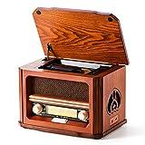 Shuman Vatertagsgeschenk Holz Retro-Radio 7-in-1 mit FM, CD / MP3-Spieler, Bluetooth-Wiedergabe, USB-Wiedergabe, Kopfhöreranschluss, integriertem Lautsprecher (MC-267)