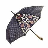 MARY SAM'S Umbrella, Stabiler ultraleichter Stockschirm mit Holzgriff für Damen und Herren, Auf-Automatik Regenschirm windfest sturmfest und wasserabweisend, Klassisch Schwarz Gold Grau Braun