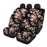 HUGS IDEA Autositzbezüge für Vorder- und Rückseite, Retro-Design, Blumenmuster, dehnbar, 3 Stück