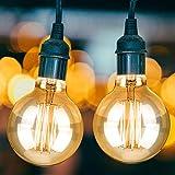 KOROSTRO Edison Vintage Glühbirne, Edison Lampe Warmweiß E27 40W G80 Retro Glühbirne Vintage Antike Filament Glühlampe für Dekorative Weihnachten Beleuchtung im Haus Café Bar usw, 2 Stücks