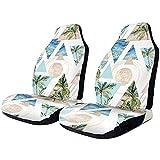 Beth-D Autositzbezüge, Retro Coconut Trees Front Autositzbezüge Set Universal Fit Full Set Sitzschutz Kompatibel Für Pkw Suv Lkw