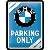 Nostalgic-Art PO26177 BMW Parking – Parking Only Blue – Geschenk-Idee für Auto Zubehör Fans, Retro Blechschild, aus Metall, Vintage-Design zur Dekoration, 15