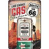 Nostalgic-Art Retro Blechschild, Route 66 Gas Station – Geschenk-Idee für USA-Fans, aus Metall, Vintage-Design zur Dekoration, 20 x 30 cm