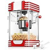 Popcornmaschine, Profi Retro Heiße Butter 300W Popcorn Maschine, 120g Große Kapazität, mit Retro Light, Antihaftbeschichtung, Popcorn Tablett, Kurze Aufheizzeit, Geeignet für Film und Weihnachtsnacht