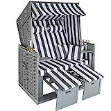 tectake 800805 Strandkorb Ostsee 2-Sitzer, 4-Fach verstellbare Rückenlehne, Volllieger mit Fußbänkchen und Seitentische, inkl. Schutzhülle + Kissen (Grau Weiß | Nr. 403907)