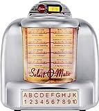 Silva-Schneider Jukebox 55 Tischradio, FM Radio, AUX, Bluetooth®, USB, SD, Akku-Ladefunktion, Wandhängevorrichtung, Silber