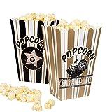 Boland 23775 44210 - Popcornschüssel Hollywood, 4 Stück, Größe 19 x 13 cm, umweltfreundlich, Popcornbehälter, Süßigkeitenbox, Schale, Tüten, Schüssel, Einwegbehälter, Mottoparty