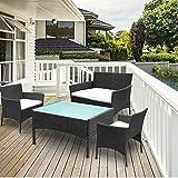 VINGO Balkon Möbel Set Poly Rattan Gartenmöbel inkl. 2er Sofa, Singlestühle, Tisch und Sitzkissen Hochwertige Sitzgruppe Schwarz für Garten Terrasse