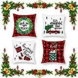 4Pcs Weihnachten Kissenbezüge, SPECOOL 45x45cm Buffalo Plaids Kissenhülle Pillowcase, Retro Truck Weihnachtsbaum, Weihnachtsstrumpf, Bettwäsche aus Baumwolle Kissenhüllen für Sofa Car Home Decor 18x18