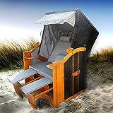 BRAST Strandkorb Deluxe 2-Sitzer XXL für 2 Personen 120cm breit mehrere Designs incl. Abdeckhaube Farbe Anthrazit/Grau/Gestreift