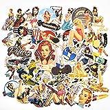 makstore 49 Stücke Retro Women Vintage Damen Pin Up Girls Aufnäher Aufkleber Fahrrad Stickers für Auto Laptop Handy Motorrad Graffiti Skateboard, wasserdicht Mini-Size