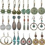 12 Paare Böhmische Ohrringe Vintage Baumeln Ohrringe Türkis Metall Hohl Anhänger Ohrringe Set für Damen Mädchen (Stil Set 2)