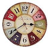 Vintage Holz Wanduhr, 30 cm Retro Holz Große Ziffern Uhr,Geräuschlose Stumm Nein Tick Tack Geräusch Wanduhr für Küche,Wohnzimmer Deko