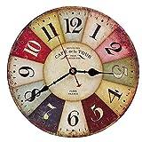 Vintage Holz Wanduhr, 30 cm Retro Holz Groe Ziffern Uhr,Geruschlose Stumm Nein Tick Tack Gerusch Wanduhr fr Kche,Wohnzimmer Deko