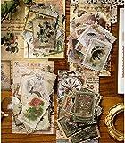 240 Pcs Vintage Aufkleber Stempel Scrapbooking Aufkleber für Scrapbook Kalender Notizbuch Tagebuch Fotoalbum DIY Dekoration, 47mm x 67mm, Charakter, Pflanze, Gebäude