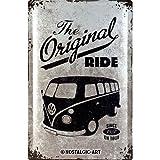 Nostalgic-Art Volkswagen Retro Blechschild - VW Bulli T1 - Original Ride, Blechschild als Vintage VW Bus Geschenk-Idee, zur Dekoration, 40 x 60 cm