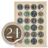 2 x 24 Adventskalenderzahlen VINTAGE zum Basteln Sticker Aufkleber Adventskalender Zahlen 4 cm beige grün schwarz natur Weihnachtskalender Etiketten 1 bis 24 für Papiertüten