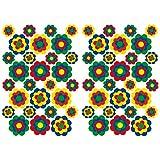 Finest Folia 56 Hippie Aufkleber Blumen Sticker selbstklebend Flower Power Dekor für Auto Fahrrad Bus Wände Möbel Retro Style 70er Jahre Kult (Bunt, Glanz (R063))