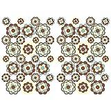 Finest Folia 56 Hippie Aufkleber Blumen Sticker selbstklebend Flower Power Dekor für Auto Fahrrad Bus Wände Möbel Retro Style 70er Jahre Kult (Braun Beige, Matt (R063))